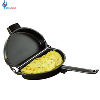 New Design Non stick Folding Omelette Pan Hand Frying Pan Stainless Iron Double Side Grill Pan 28.5*24cm Outdoor Panelas Pans