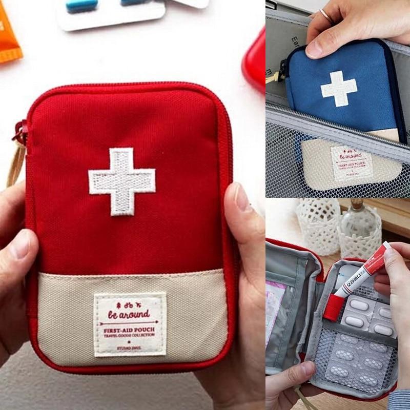 Mini Medicine Bag Pill Case Bag Protective Life-saving Equipment Outdoor Family Aid Bags Random Color L3