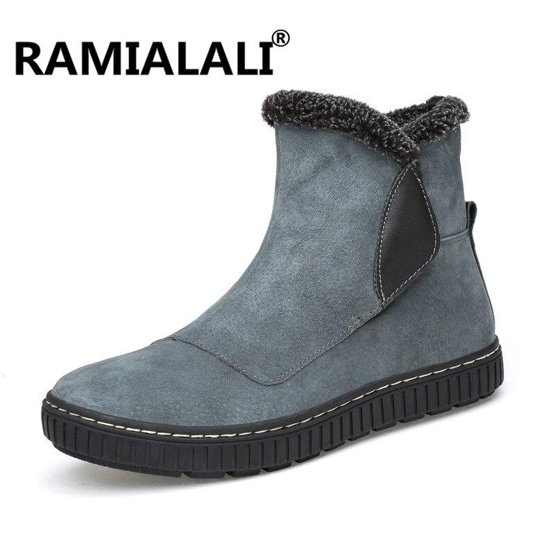 Sapato Ankle cinza Pele Calçado De Inverno Genuína Boots Do Botas Neve amp; Couro Preto Warm Luxo Ocidental Cowboy Vaca Camurça Martin Plush Homens 5qOB5zw
