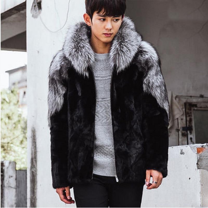 S 5XL New Fashion Clothes Men's Winter Coat Men's Fox Fur Hooded Coats Mink Fur Overcoat Male Faux Fur Coat
