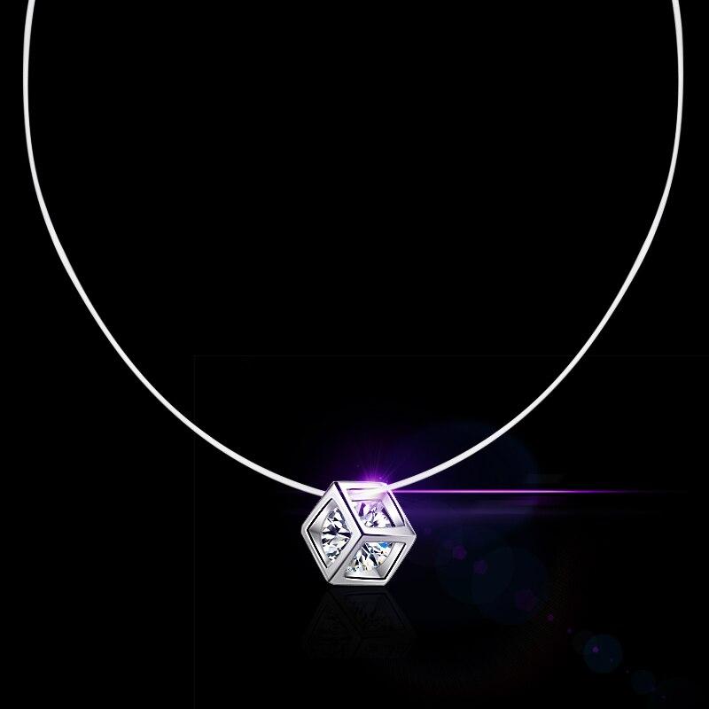 Gerade Neue 925 Silber Transparent Angelschnur Halskette Klar Würfel Zirkon Anhänger Funkelnden Halsband Halskette Heißer Verkauf Frauen Schmuck Halsketten & Anhänger
