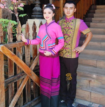 Thailand Dai traditional costumes of Couple's clothing four seasons special promotion Waiters Outfit