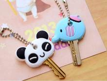 1pcs 8 styles cartoon Cute Key Cover Cap Silicone elephant Keychain Women Gift panda Key Chain good quality wj309(China)
