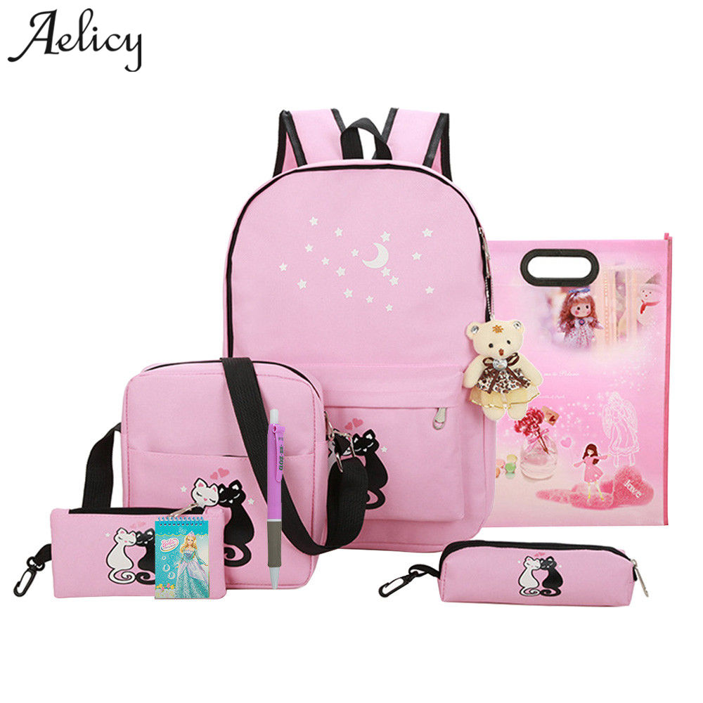 8 Pcs Cute Animal Star Printing Backpack Canvas Backpack Schoolbag For Girls Rucksack Design Mochila Feminina