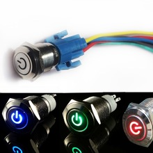 2 pcs 16mm 12V Car Metal Push Button Switch Blue / Red / Green LED Self locking 1NO 1NC Metal Auto Toggle Switches + Socket Plug plastic copper push button power switches green 10 pcs