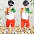 Комплекты для мальчиков летние спортивные костюмы детские комплекты дорожек для мальчиков с алфавитом, цвета: черный, серый, 4-12, 14 лет, одежд...