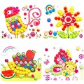 3D Eva Foam Buttons Stick Puzzle DIY Painting Stickers Toy Kids Handmade Button Toys Self-adhesive Gift Random Pattern