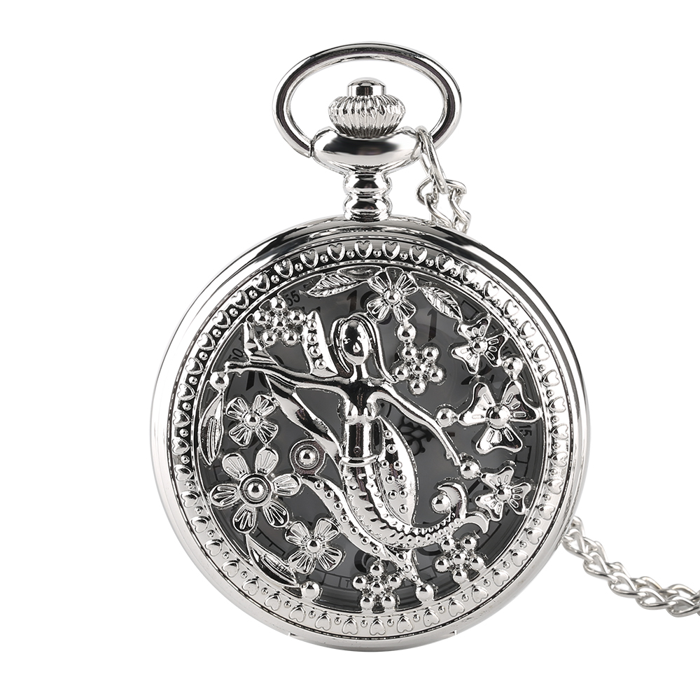 Pocket Watch Women Vintage Hollow Retro Bronze Chain Fob Watches Necklace  Arabic Numbers Dial White Face Quartz Clock Flower