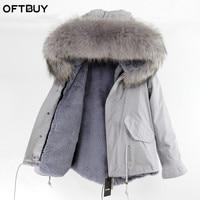 Real Fur Coat Brand 2019 Grey Parkas Winter Jacket Women Winter Coat Women Parka Natural Raccoon Fur Collar Hooded Warm Thick