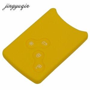 Image 3 - Funda protectora jingyuqin de 4 botones de silicona para llave de coche para Renault Clio Logan Megane 2 3 Koleos Scenic Card llavero