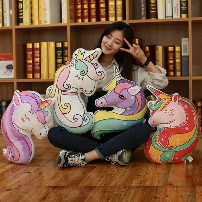 Double sided printing cartoon Unicorn doll pillow Colorful Unicorn Live Pillow Filled Animal Horse Shape <font><b>Cushion</b></font>