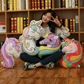 Double sided printing cartoon Unicorn doll pillow Colorful Unicorn Live Pillow Filled Animal Horse Shape Cushion