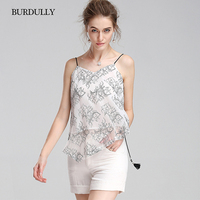 BURDULLY 2019 Summer Casual Lace Camisole New Arrival Sleeveless Woman Vest Ladies Camis Acrylic Floral Fashion Short Clothes