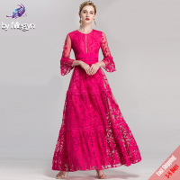 High Quality Fall Winter Runway Designer Maxi Dresses Women's Rose Red Solid Embroidered Lace Luxury Party Long Dress Free DHL