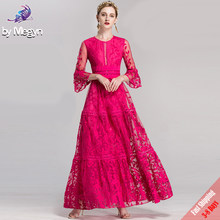 High Quality Fall Winter Runway Designer Maxi Dresses Women's Rose Red Solid Embroidered Lace Luxury Party Long Dress Free DHL(China)