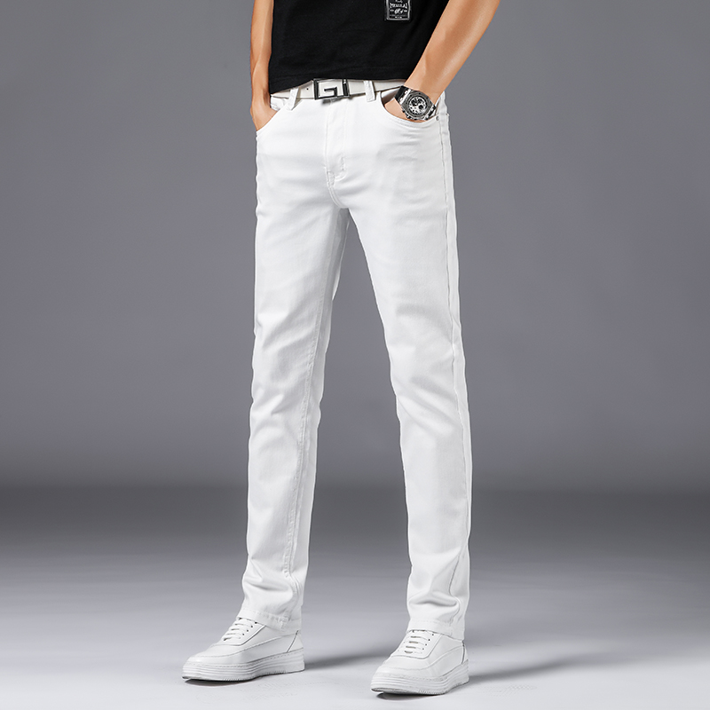 Male Jeans Homme Men Biker White Jean Streetwear Masculina Skinny Slim Fit Exhaust Pants Denim Overalls Man Pants Fashion