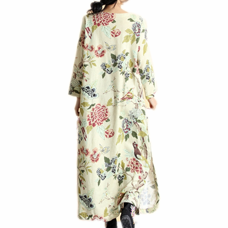 db4c8d87e3 Womens Floral Maxi Dresses Cotton Linen Robe Longue Femme Chinese Frog  Button Decoration Big Size Long Sleeve Dress-in Dresses from Women's  Clothing on ...