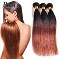 Ombre Brazilian Virgin Hair Straight 3 Bundles T1B/33#/99J Ombre Brazilian Hair Weave Bundles Ombre Human Hair Ombre Bundles