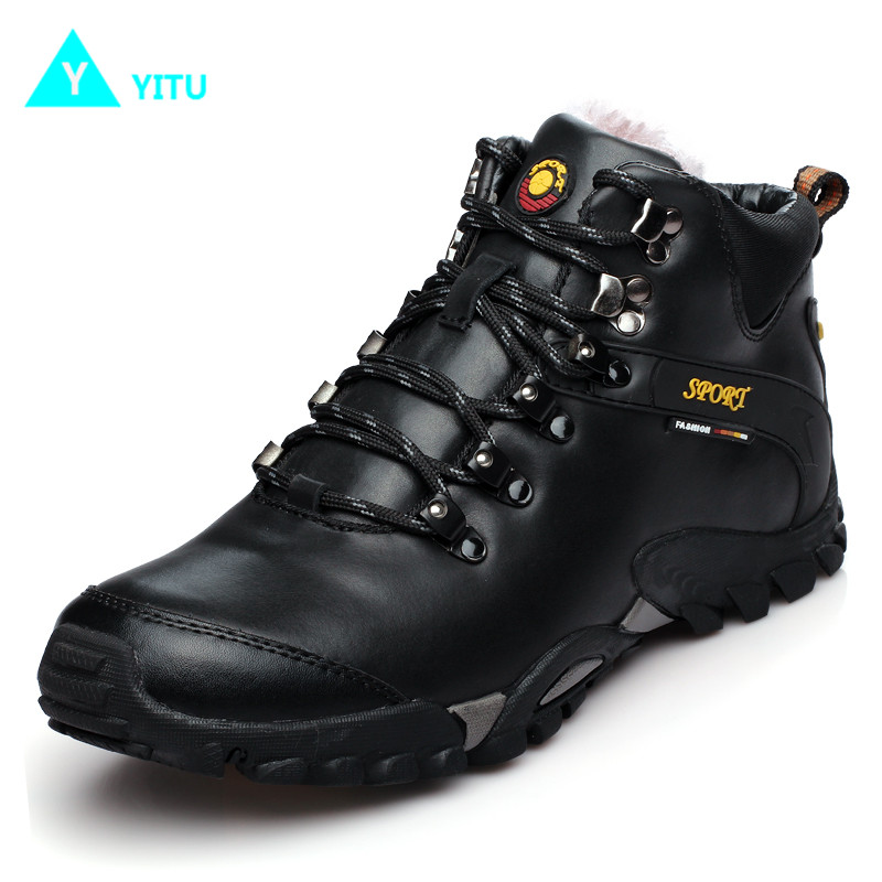 YITU Men Hiking Sheos Outdoor Athletic Fishing Hunting Leather Winter Sneakers With Fur Breathable Trekking Boots Climbing Shoes hot sale winter hiking shoes men breathable outdoor leather trekking lace up sneakers boots brand climbing slip camouflage hunt