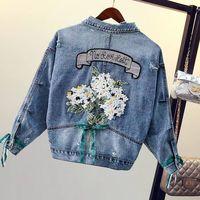 Flower Embroidery Loose Women Denim Jacket Autumn Casual Boyfriend style Chaqueta Mujer Streetwear fashion female jean tops 2019