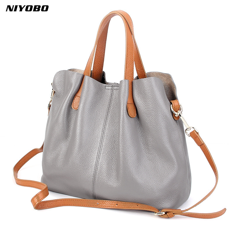 NIYOBO 100% Genuine Leather Bag Famous Brands Luxury Women Messenger Bags Female Designer Shoulder Tote Bag Casual Tote Sac niyobo genuine leather women shoulder bag 100