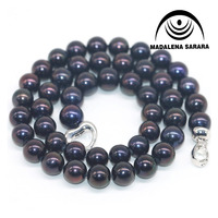 MADALENA SARARA 11mm AAA Freshwater Pearl Necklace Black Pearl Strand DIY Beaded Making 100% Guarantee