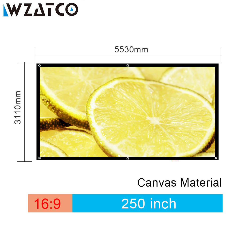 WZATCO Wholesale Large Size Projector Screen 250 inch 16:9 Canvas Fabric Projection Screen Without Frame For Cinema Freeshipping support for customfree shipping 120 inch projector mount screen 16 9 gf grey