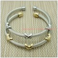 2015 New Fashion 316L Stainless Steel Silver&Gold Cable Wire Chain Womens Mens Cuff Bangle Unisex Bracelet Jewelry Top Quality