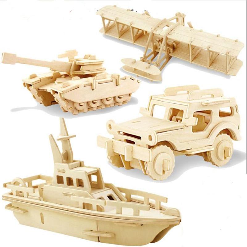 3D Puzzle Wooden Toys Diy Transportation Model Educational Toys for Children Montessori Wooden Puzzle Crafts for Children стоимость