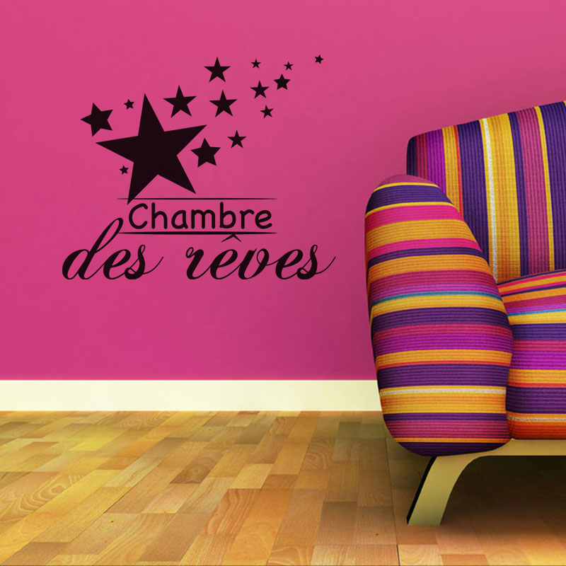 French Chambre des Reves Vinyl Wall Sticker Removable Art wallpaper Mural decals poster for living room Home Decor 50X60cm