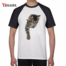 Men Women T-Shirt 3D Cat Print Stylish Summer White Tops Short Sleeve Slim Fit Unisex Round Neck Graphic Printed Tee Shirts