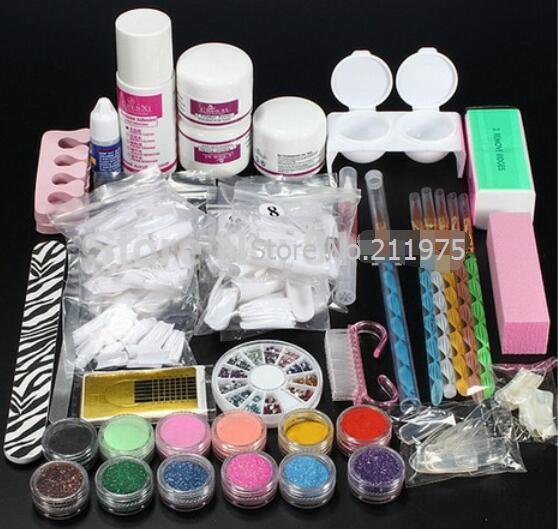 Pro Acrylic Nail Art Tips Decorations Glue File Powder Liquid Glitter Brush Pen Tweezer primer Tool Set crystal