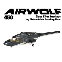 450 scale airwolf fuselage canopy Fiber glass helibody for Bell 222 helicopter