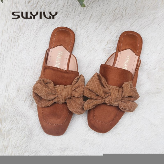 7f20226bd469ce SWYIVY Women s Slippers Mules Shoes Velvet Bow 2018 New Female Casual Shoes  Flat Sweet Toe Cover Halp Slipper Woman Slides 40