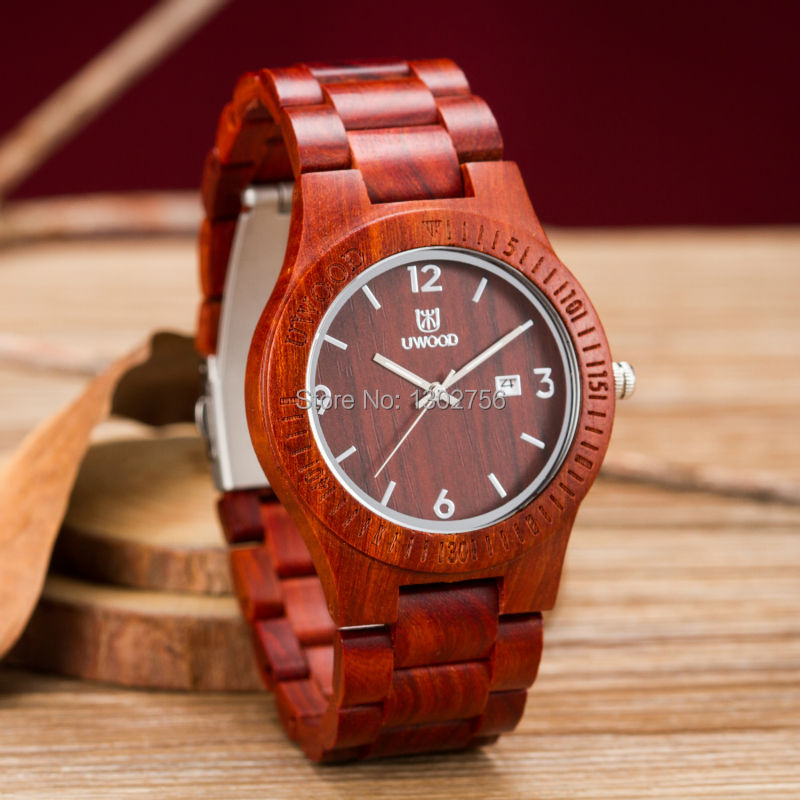 Uwood Luxury Brand New Style Red Sandal font b Wooden b font font b Watch b