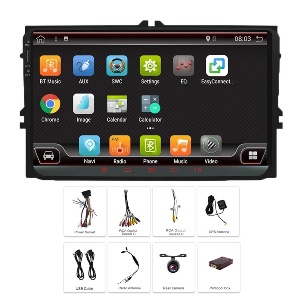 Android 7.1 DVD de voiture pour Volkswagen passat b7 b6 golf 5 Passat Tiguan écran tactile Wifi GPS Bluetooth Radio USB SD volant