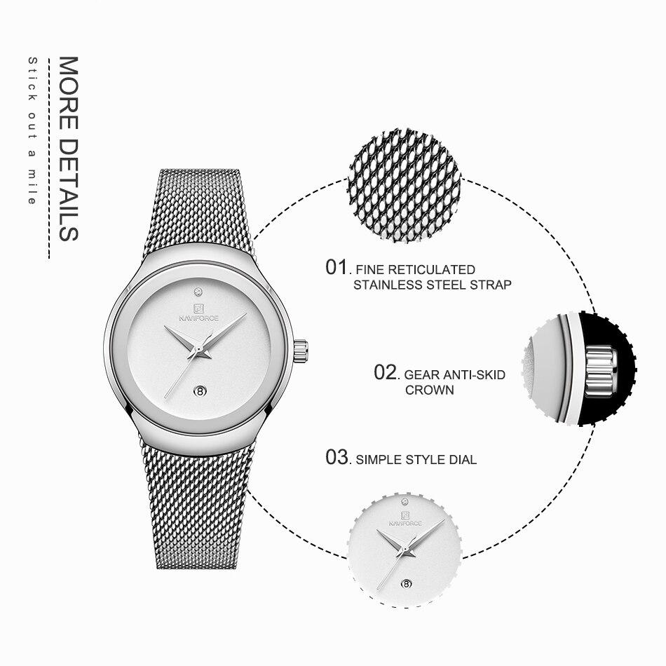 NAVIFORCE Relojes de mujer Top Marca de lujo Señora Moda Casual Correa de malla de acero simple Regalo de reloj de pulsera para niñas Relogio Feminino (3)