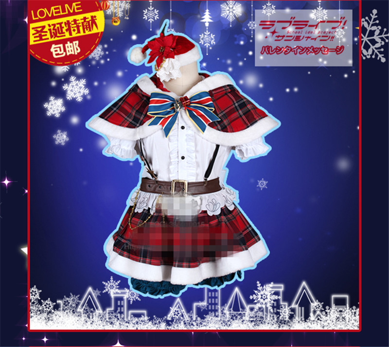 Anime Aqours Love Live Sunshine Takami Chika Cosplay Costume Christmas Woman Autumn Winter Clothing