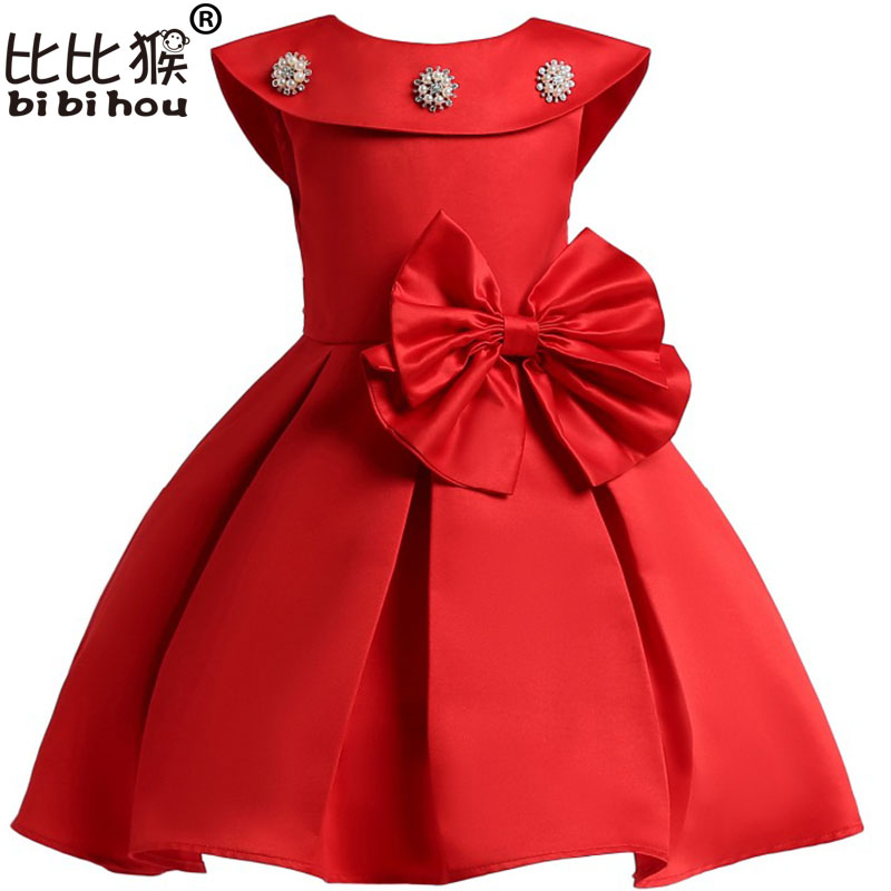 New summer red Children Dresses costume for girls Kids Formal Wear Princess Dress For Baby Girl 8 Year Birthday Party Dress summer 2017 new girl dress baby princess dresses flower girls dresses for party and wedding kids children clothing 4 6 8 10 year