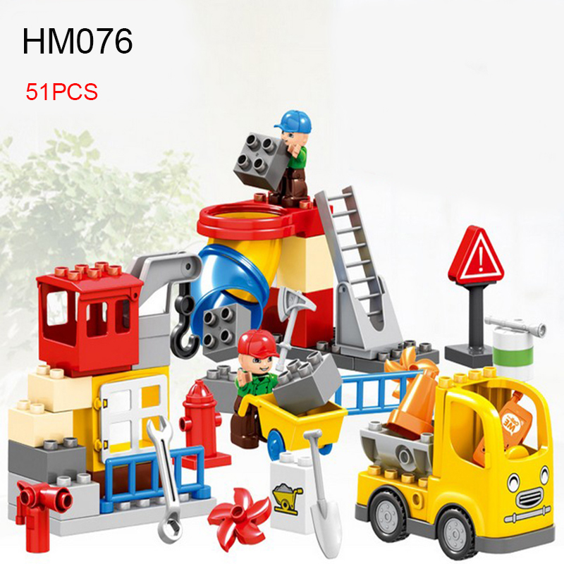 51PCS HM076 Large Size City Engineering team Building Blocks Educational DIY Bricks Toys for Children Duploe Funny Toys new big size 40 40cm blocks diy baseplate 50 50 dots diy small bricks building blocks base plate green grey blue