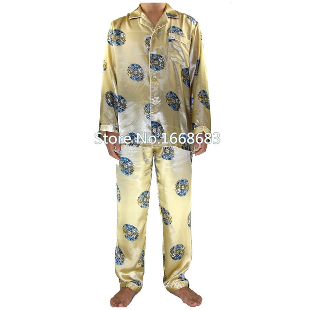 Nuevo otoño de seda china hombres pijamas Set completo de la manga de traje de pijama 2 unids camisa y pantalón pijamas tamaño sml XL XXL XXXL S0043