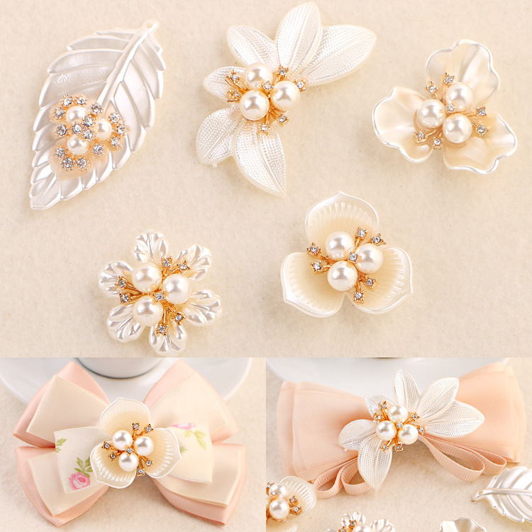 Fashion Rhinestone Pearl Flower & Leaf Charms For Jewelry Making Findings Diy Bows Hand Made Accessories Wedding Decoration