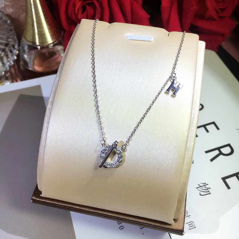 Personality Letter Necklace Trendy Designer Women 925 Sterling Silver Pendant Fashion Sparkling Zircon Decorative Necklace
