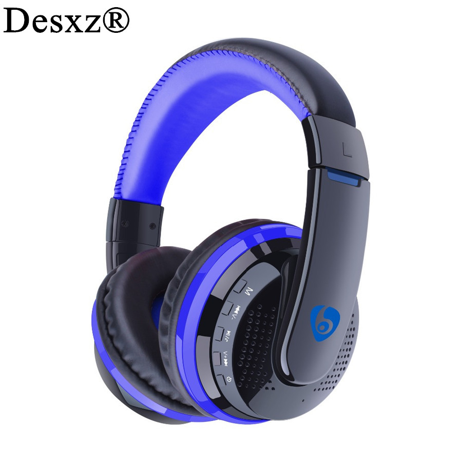 Desxz Ear Powerful Bass Stereo Bluetooth Headphone Handsfree Wireless Headset With Microphone FM Radio Micro-SD Card Slot Over economic set original nia 8809s 8 gb micro sd card a set wireless headphone sport for tv with fm