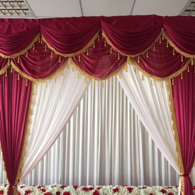 3mh3mw Ice Silk White Curtain Wonderful Wine Red Swags And Drapes