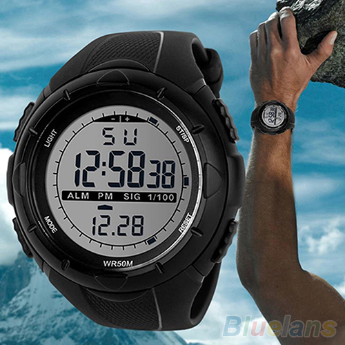 Men Stainless Steel Waterproof 50m Sports Watches Digital LED Military Silicone Band Timer Quartz Watch Electronics WristWatches 2015 hot men s waterproof led silicone band timer quartz sports wristwatches men 4d3w 6t35 3y3fd