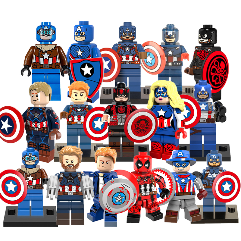 Captain America Superheroes Marvel Avengers Hulk Building Blocks Single Sale Star Wars Mini Dolls Bricks Toys For Children iridium saddle shield heat deflector for harley 2009 2016 electra tri glide trike touring road king street glide flht fltr flhr