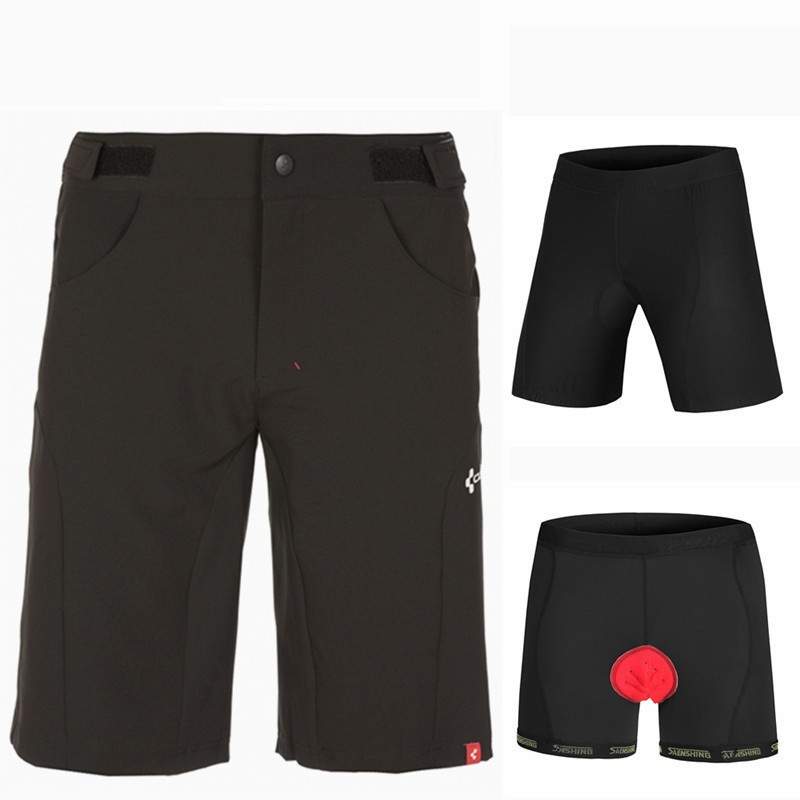 Shorts Men + 3D Padded Shorts Mountain Shorts Vtt Bermuda Men Fashion 2pcs/set