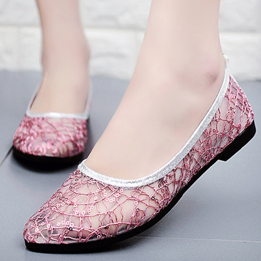 new hot sale women pointed toe brand ladies girls flats shoes women fashion summer soft lace mesh flat shoes femme zapatos 808h 2017 new fashion spring ladies pointed toe shoes woman flats crystal diamond silver wedding shoes for bridal plus size hot sale