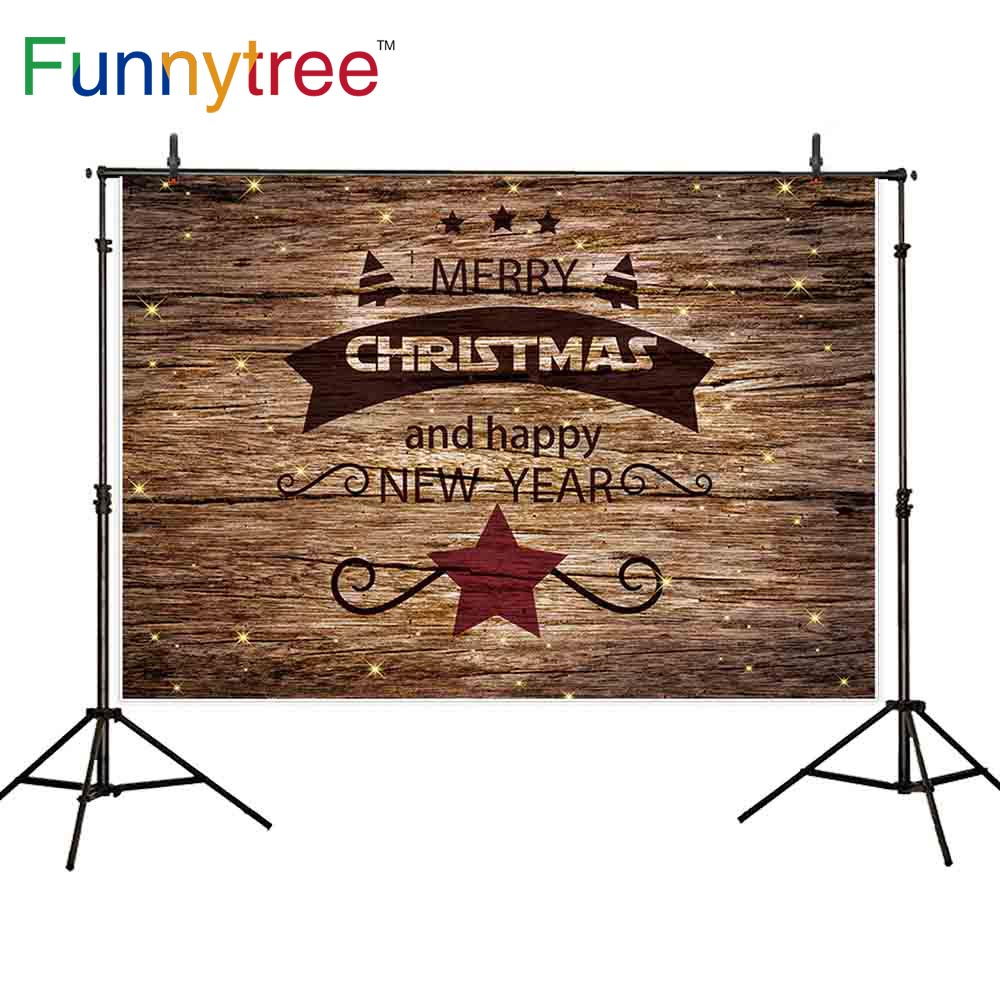 funnytree christmas background photography brown wooden new year star frame glitter winter spots backdrop photocall wallpapers in background from consumer